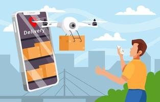 Contactless Package Delivery Concept vector