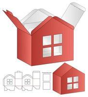 plantilla de troquelado de embalaje de bolsa de papel con forma de casa vector
