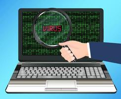 desktop computer scanning and found virus infected vector