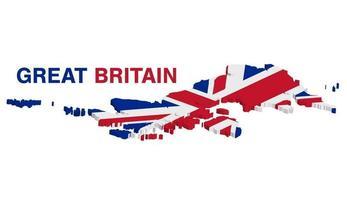 Mapa 3D de Gran Bretaña sobre un fondo blanco. vector