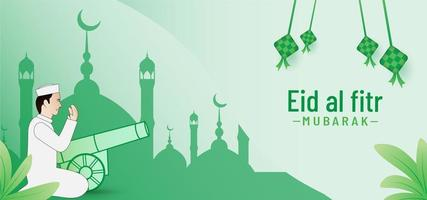 Beautiful eid al fitr banner background vector