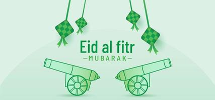Eid al fitr banner background with beautiful cannon vector