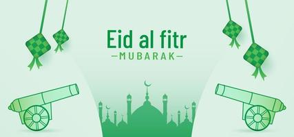 Eid al fitr banner background with cannon and mosque vector