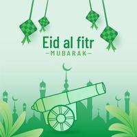 Eid al fitr banner background full of ketupak cannon vector