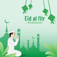 Eid al fitr banner background filled with ketupak vector