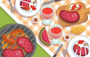 barbacoa de comida de picnic en el parque vector