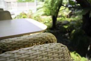 Outdoor seating in a garden photo