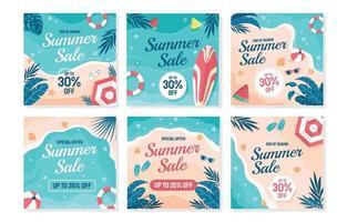 plantilla de redes sociales de venta de verano vector