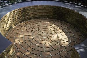 Close-up of an outdoor circular seating area photo