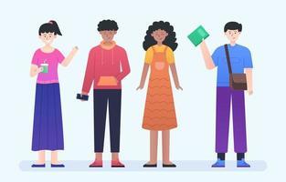 Conjunto de colección de personajes de personas en diversidad. vector