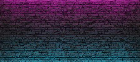 Empty brick wall with blue and pink neon light photo