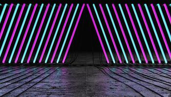 Empty room with a line of pink and blue neon lamps with wires on the floor photo