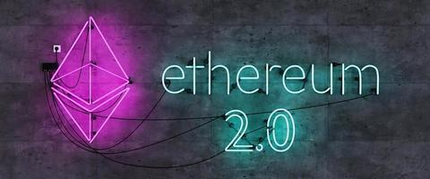 Neon lamp headboard with Ethereum 2.0 symbol and sign photo