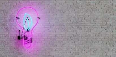 Neon with bulb shape and leaf inside. Copy space photo