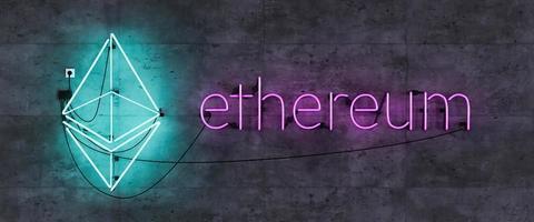 Neon lamp headboard with Ethereum symbol photo