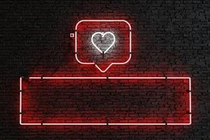 Neon notification box with heart and empty rectangle for presentation of followers or likes photo