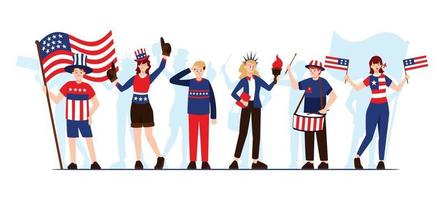 Celebrating 4th of July Character Collection vector