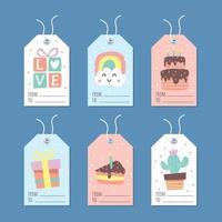linda etiqueta de regalo en color pastel vector