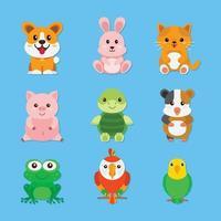 conjunto de lindas mascotas animal vector