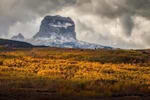 Chief Mountain in Autumn in Glacier National Park Montana USA photo