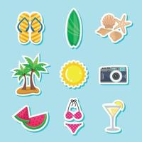 Summer Season Sticker Collection vector