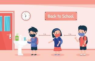 Back to School in New Normal Protocol vector