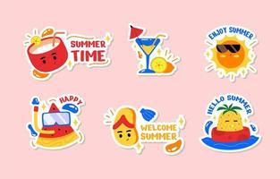 Summer Season Vibes Sticker Set vector