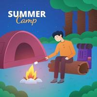Summer Camp with Man Sitting Near Bonfire vector