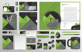 plantilla de conjunto de identidad corporativa geométrica verde vector