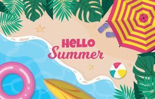 hola fondo de playa de verano vector