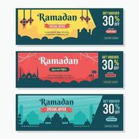 Ramadan Sale Voucher Design Template vector