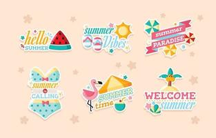linda pegatina de verano en color pastel vector