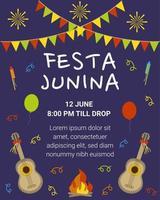 Banner or poster for Festa Junina village festival in Brazil. Vector flat illustration.