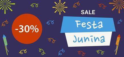 Sale banner template for Festa Junina village festival in Brazil. Vector flat illustration