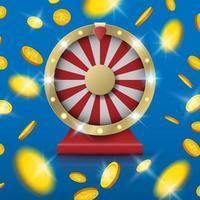 Jackpot girando la rueda de la fortuna con la explosión de monedas de oro desde el centro, ilustración vectorial vector