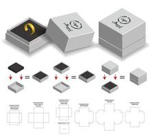 rigid box for ring product mockup with dieline vector