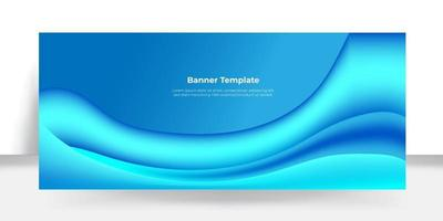 Abstract blue curvy shapes banner vector