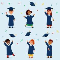 colección de personajes de graduación de estudiantes vector