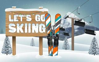let's go skiing wood board sign and ski equipment vector