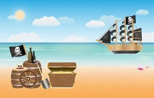pirate treasure with pirate ship scene at beach vector