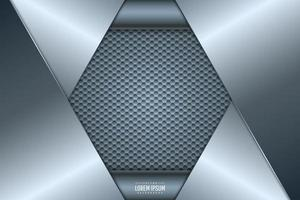 Blue metal background with hexagon pattern. vector