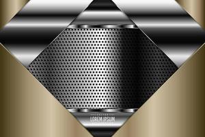 Metallic background of gold and silver with perforated texture vector