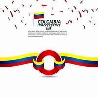 Ilustración de diseño de plantilla de vector de celebración del día de la independencia de Colombia