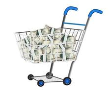 pile of dollar banknotes in a shopping cart vector