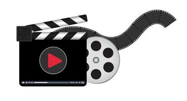 clapperboard with video streaming logo vector