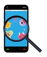 magnifying glass found virus on smartphone vector