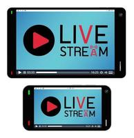 smartphone and tablet with live stream on a screen vector