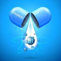 Blue pill capsule with drop of vitamin B1. Blue poster with abstract vitamin B1 vector