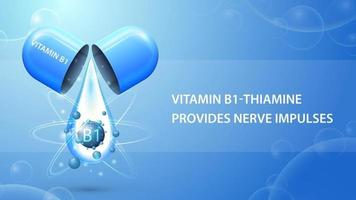 Vitamin B1, blue information poster with abstract pill capsule with drop of vitamin B1 vector