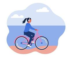 A girl in headphones rides a bicycle along the beach, the shore. The concept of a healthy active lifestyle. Vector image in a flat style